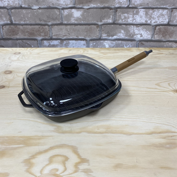 Сковорода-гриль с крышкой чугунная 280х280 БИОЛ