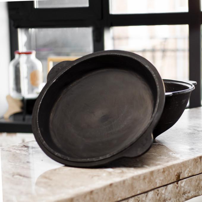 Крышка - сковорода чугунная 10 литров Узбекистан