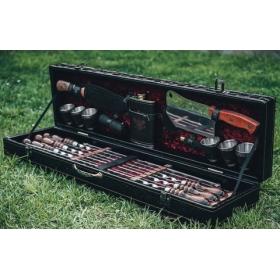 Набор шампуров Элит Большой в коробе кожзам 6 шампуров, с фонариком