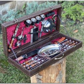 Набор шампуров Элит Дипломат в коробе кожзам 6 шампуров